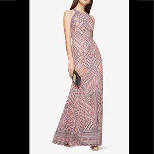 BCBG Felicia Geometric Burnout Print Gown